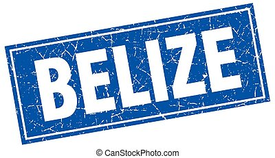 Belize blue square grunge vintage isolated stamp