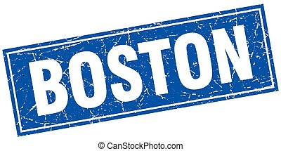 Boston blue square grunge vintage isolated stamp