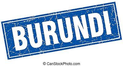 Burundi blue square grunge vintage isolated stamp