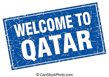 Qatar blue square grunge welcome to stamp