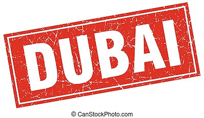 Dubai red square grunge vintage isolated stamp