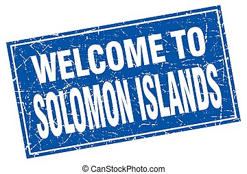 Solomon Islands blue square grunge welcome to stamp