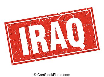 Iraq red square grunge vintage isolated stamp