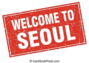 Seoul red square grunge welcome to stamp