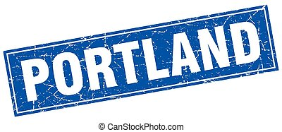 Portland blue square grunge vintage isolated stamp