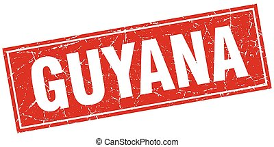Guyana red square grunge vintage isolated stamp