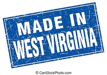 West Virginia blue square grunge made in stamp