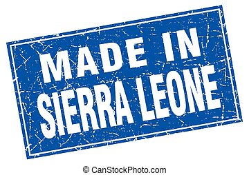 Sierra Leone blue square grunge made in stamp