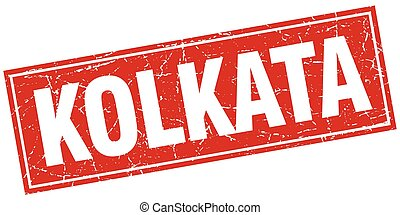 Kolkata red square grunge vintage isolated stamp