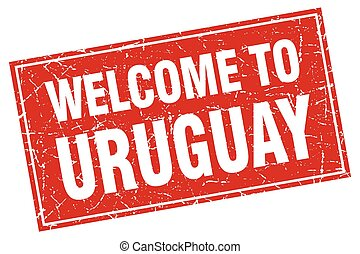 Uruguay red square grunge welcome to stamp