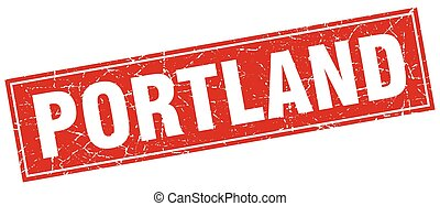 Portland red square grunge vintage isolated stamp