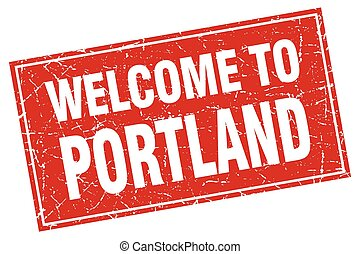 Portland red square grunge welcome to stamp