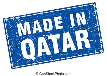 Qatar blue square grunge made in stamp