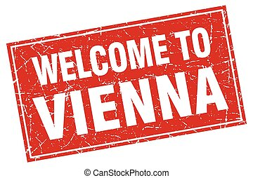 Vienna red square grunge welcome to stamp