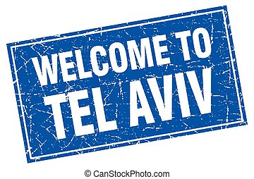 Tel Aviv blue square grunge welcome to stamp