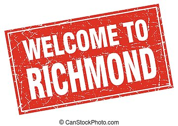 Richmond red square grunge welcome to stamp