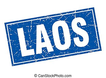 Laos blue square grunge vintage isolated stamp