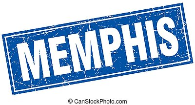 Memphis blue square grunge vintage isolated stamp