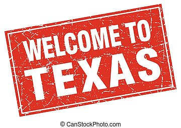 Texas red square grunge welcome to stamp