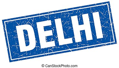 Delhi blue square grunge vintage isolated stamp