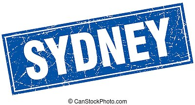 Sydney blue square grunge vintage isolated stamp