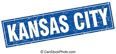 Kansas City blue square grunge vintage isolated stamp