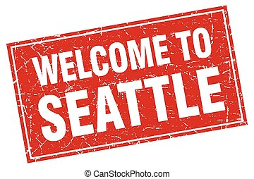 Seattle red square grunge welcome to stamp