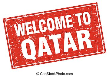 Qatar red square grunge welcome to stamp
