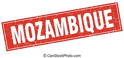 Mozambique red square grunge vintage isolated stamp