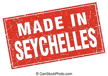 Seychelles red square grunge made in stamp