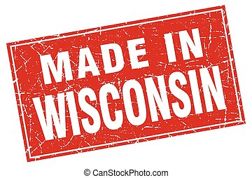 Wisconsin red square grunge made in stamp
