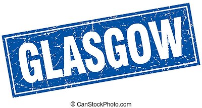 Glasgow blue square grunge vintage isolated stamp