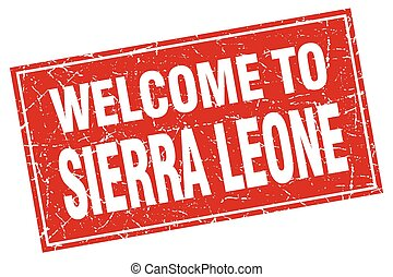 Sierra Leone red square grunge welcome to stamp