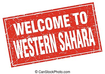 Western Sahara red square grunge welcome to stamp