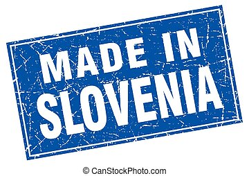 Slovenia blue square grunge made in stamp