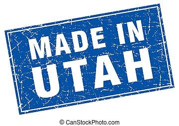 Utah blue square grunge made in stamp