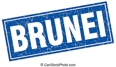 Brunei blue square grunge vintage isolated stamp