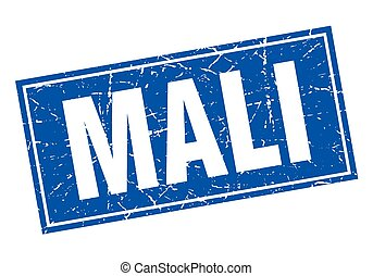Mali blue square grunge vintage isolated stamp