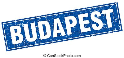 Budapest blue square grunge vintage isolated stamp