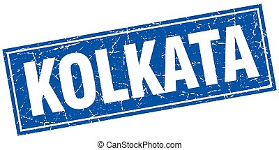 Kolkata blue square grunge vintage isolated stamp