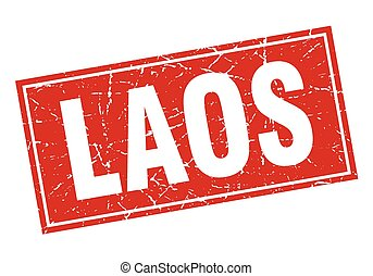 Laos red square grunge vintage isolated stamp