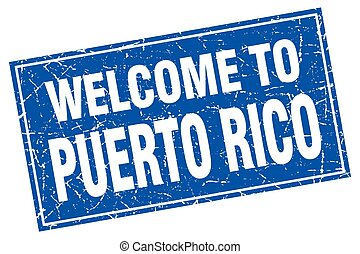 Puerto Rico blue square grunge welcome to stamp
