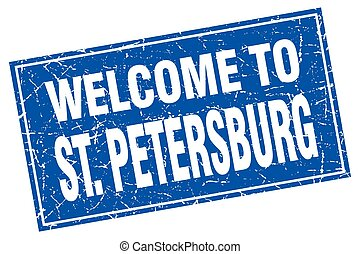 St. Petersburg blue square grunge welcome to stamp