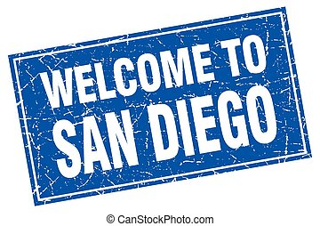 San Diego blue square grunge welcome to stamp