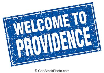 Providence blue square grunge welcome to stamp
