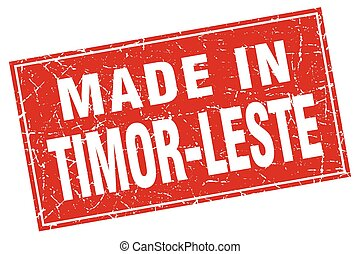 Timor-Leste red square grunge made in stamp