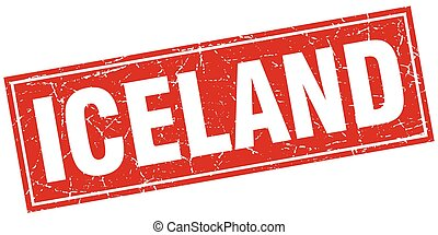 Iceland red square grunge vintage isolated stamp