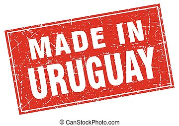 Uruguay red square grunge made in stamp