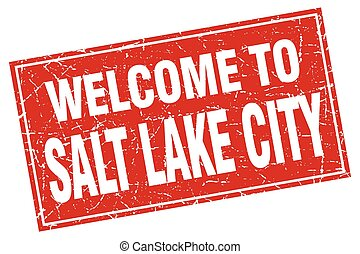 Salt Lake City red square grunge welcome to stamp