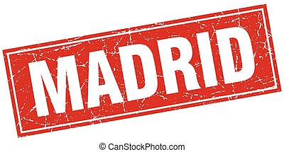 Madrid red square grunge vintage isolated stamp